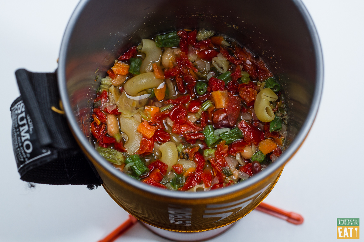 cooked backpacking minestrone soup in a jetboil stove