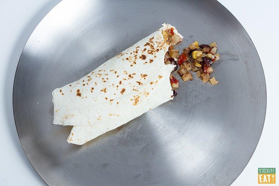 Vegetarian backpacking breakfast burrito