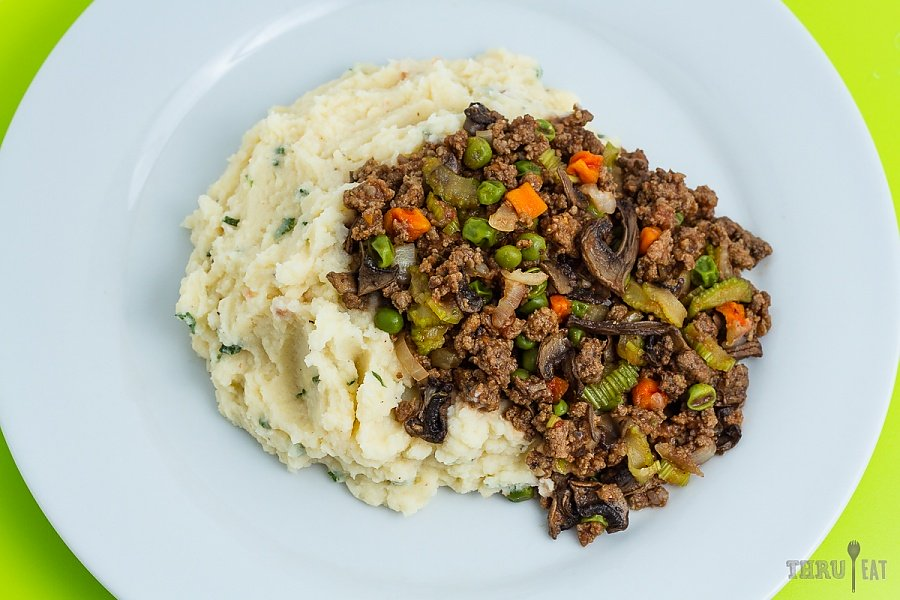 cottage pie: rehydrated ground beef on top of instant mashed potatoes