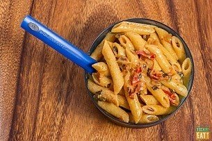 Creamy chipotle penne pasta for camping